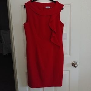 NWT Size 12 Calvin Klein Red Ruffle Dress
